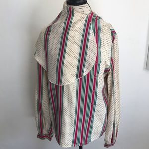 100% Silk Blouse Long Sleeve Striped Polka Dot VTG